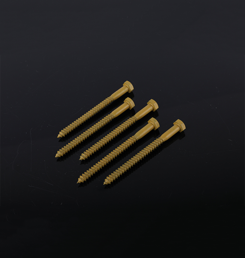 RUSPERT YELLOW DIN571 HEXAGONAL WOOD SCREW CARBON STEEL M8